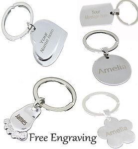 Personalised-Keyring-Engraved-Custom-Text-or-Logo-Heart-Foot-Love-Tag-Gift-Key