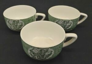 Currier & Ives The Old Curiosity Shop Set of 3 Coffee Tea Cups Green Vtg 1950's