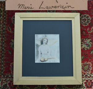 1946-old-Original-MARIE-LAURENCIN-Color-Etching-Jeune-Fille-A-La-Guitare-FRAMED