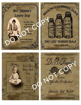 Primitive Civil War Confederate Rebel Union Pantry Labels Set of 4 • 12941 #2