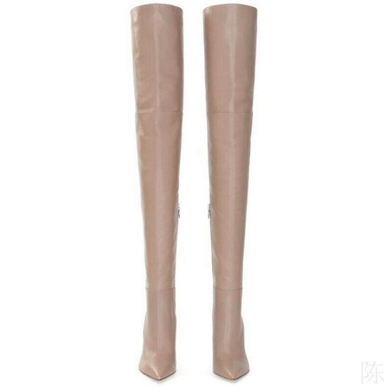 Women's Block Heel Pointy Toe Over Knee Thigh High Boots Nightclub Shoes 34-45 L