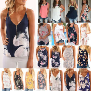 Floral-Women-Summer-Vest-Top-Sleeveless-Shirt-Blouse-Casual-Tank-Tops-T-Shirt