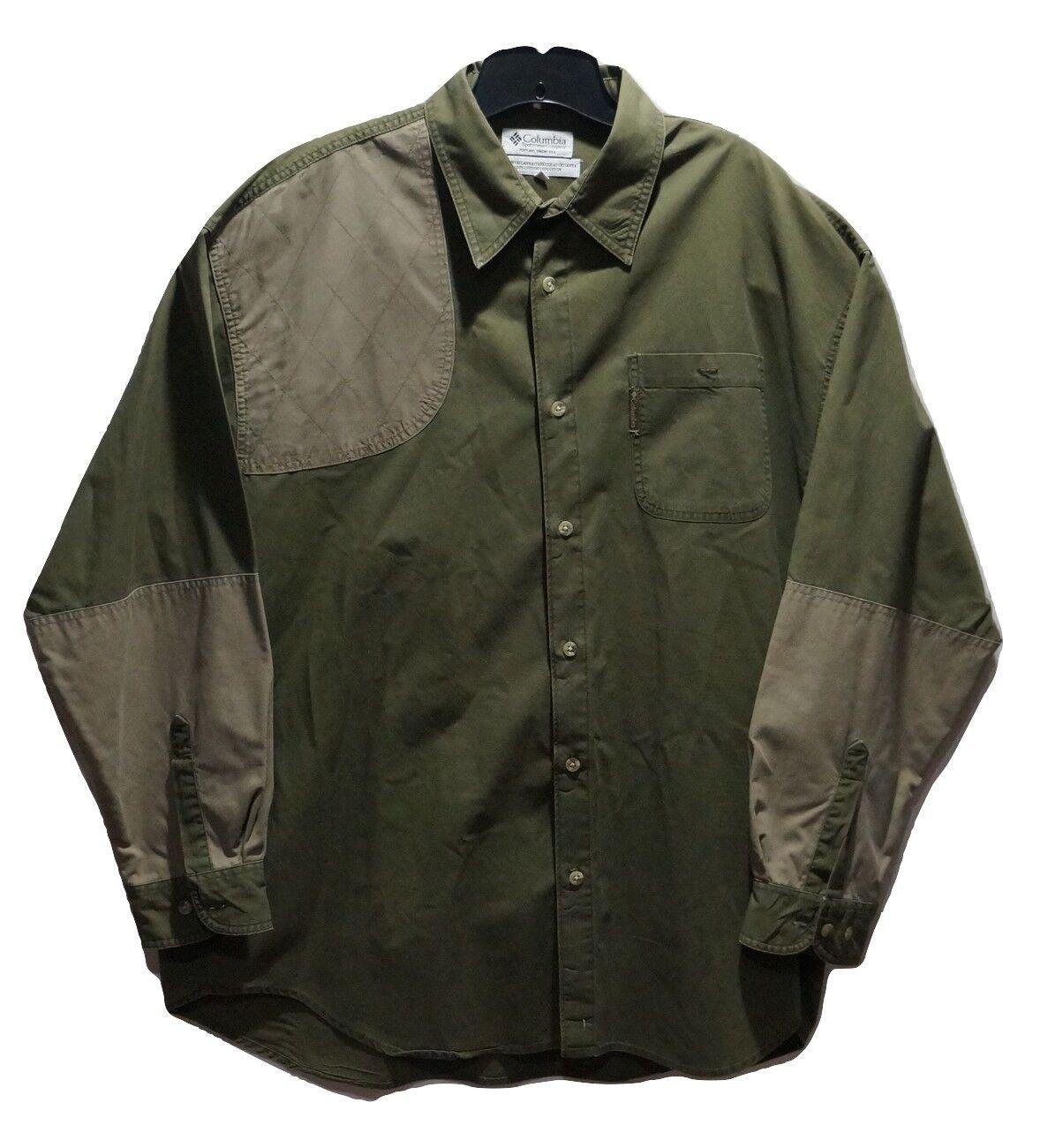 Columbia Men's 2XL XXL Olive Green Hunting Shooting Shirt Long Sleeve
