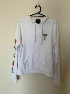 Stussy long sleeved print hoodie ladies size M white 60% cotton 40% polyester