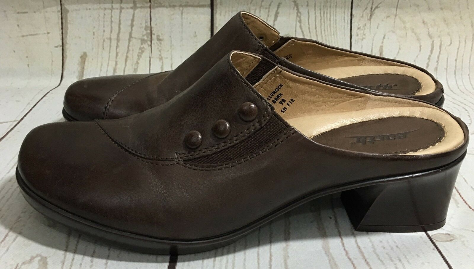 9e36748ac4ba7 Earth Hollyhock Bark Brown Leather Mules Heels Slip-On shoes Size 9 ...