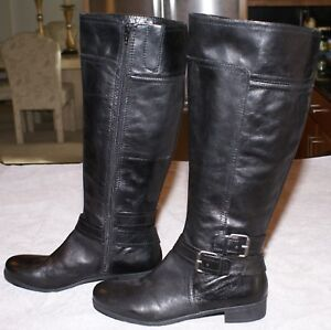 50836637653 Details about NINE WEST VINTAGE AMERICA BLACK LEATHER RIDING BOOTS SIZE 7  1/2 M NWOB