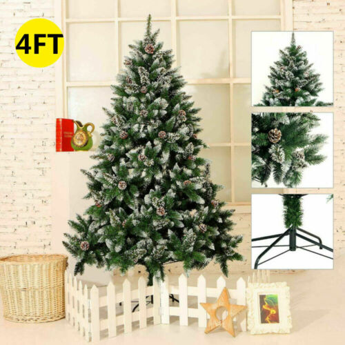 Details about  /4-7FT Artificial Christmas Tree Snow /& Pine Cone Traditional Xmas Decorations US