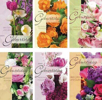 100 Glückwunschkarten zum Geburtstag Blumen 51996 Geburtstagskarte Grußkarte