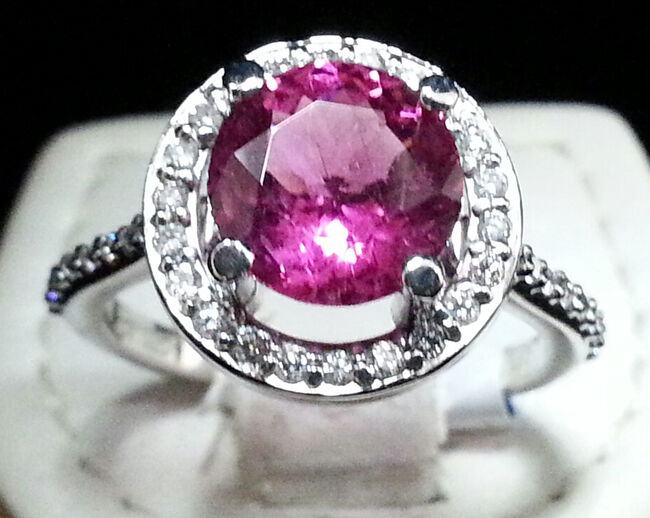 0.58CTW NATURAL DIAMOND RUBY 14K SOLID WHITE gold WEDDING ANNIVERSARY RING