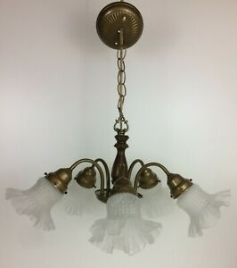 Details About Vtg Thomas Industries Br Walnut Light 5 Arm Chandelier Moe