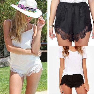 Women Lace Hem Elastic Waist Beach Summer Short Pants Trousers Shorts