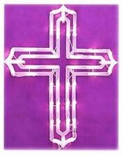Lighted Easter Cross Religious Window/Wall/Door/Yard Decor (New)