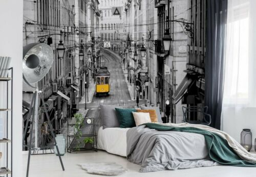 Lisbon street bedroom wallpaper 368x254cm black /& white architecture wall mural