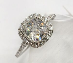 Details About 925 Sterling Silver Nickel Free Rhodium Plated Cushion Cut Cz Engagement Ring