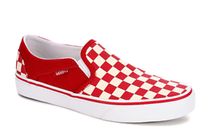 Details about Vans Women's Asher Slip On Sneaker Athletic Casual Comfy Shoes CheckerboardRed