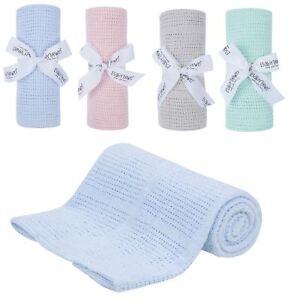 90-x-70cm-100-Cotton-Cellular-Baby-Blanket-Pink-Blue-Grey-Mint