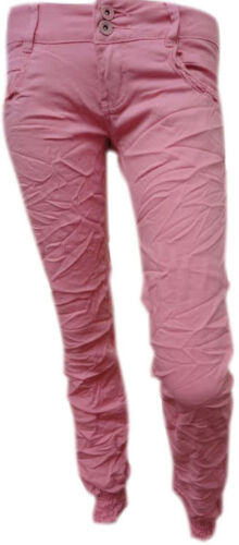BABY ROSA Crinkle attillati chino pantaloni jeans donna sz8-16