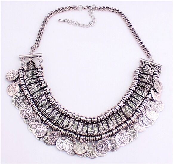 JLM's New Nice Fashion Silver Coins Statement Bib Chunky Choker Necklace Pendant