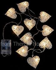 10 Blanco Corazón Guirnalda Cuerda LED Luces Pilas Boda Hogar Navidad