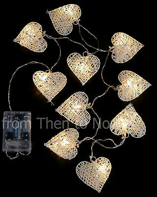 10 White Heart Garland String LED Lights Battery Operated Wedding Home Christmas