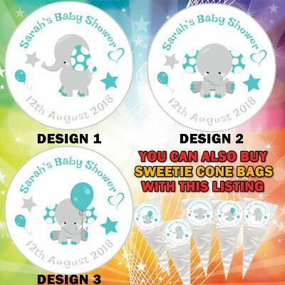 35 Blue Elephant Boy Cute Baby Shower Stickers Thank You Stickers