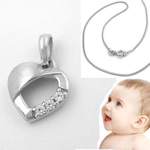 Baby Kinder Herz Anhänger Herzchen mit Zirkonia Echt Silber 925 mit 36 cm Kette