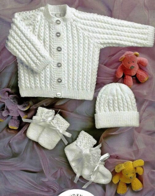 a17c50264 UKHKA 35 Prem Baby Jacket Hat Mitts Bootees 4ply Knitting Pattern ...