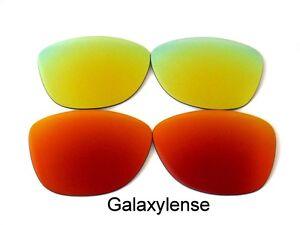 Galaxy-Lentes-De-Repuesto-Para-Oakley-Frogskins-gafas-sol-rojo-y-oro-Polarizados