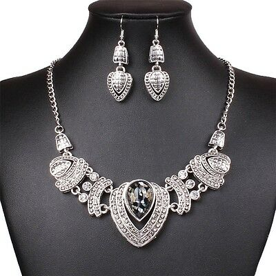 Chunky Tibet Silver Tribal Heart Love Pendant Bib Choker Necklace Earrings Set