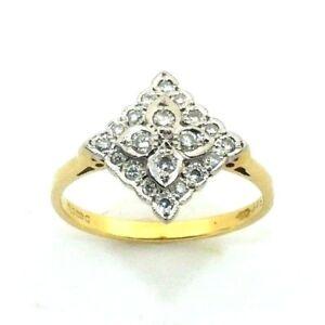FEMMES-18-carats-18-Or-Bague-de-fiancailles-GRAPPE-Diamant-GB-Taille-N-1-2