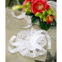 Ribbon Tie Lace Circle Corsage Wristlet - White