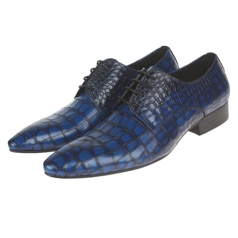 New Men's Real Leather Dress Formal shoes Crocodile Print Lace Up C1202