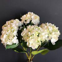 Bunch Of 5 White Faux Silk Hydrangeas, Ivory Cream Light Green Artificial Flower