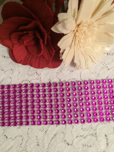 JEWEL SEQUIN METALLIC HOT PINK DIAMANTE RIBBON TRIM