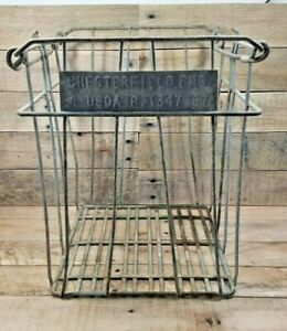 Vintage-Chesterfield-Farms-Dairy-Metal-Egg-Milk-Crate-15-034-Tall-X-13-034-Square
