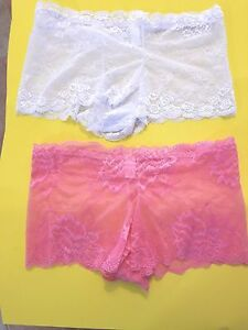 Women-039-s-Panties-Lace-XXL-2-Pair-Colors-Pink-and-White