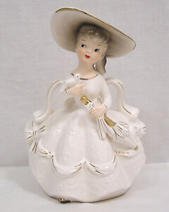 Vintage Figural Lady Planter White Dress with Gold Highlights Parasol & Bird