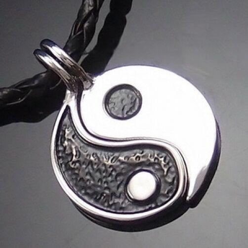 "Yin Yang Friendship Split Pewter Pendant with 2 pcs 20"" Choker Necklace PP#245"