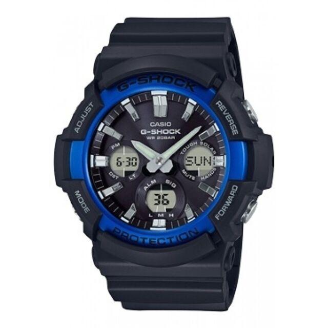 Casio G-Shock Men's Tough Solar Blue Accent Black Resin 52mm Watch GAS100B-1A2