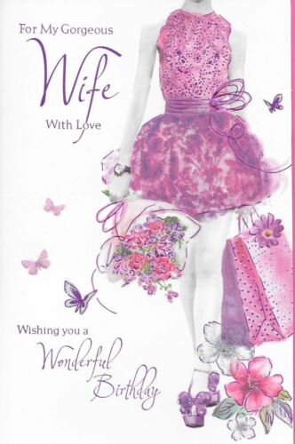 Y1 . QUALITY,SHOPPING,FLOWERS THEME,LOVELY VERSE 9X6, FOR MY WIFE BIRTHDAY CARD