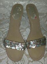 Unisa Shell Kitten Heel Slide Sandals size 10