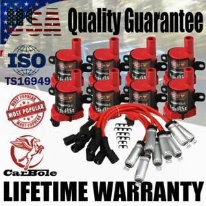 D585 Ignition Coils Spark Plug Wires Set For Chevrolet GMC LS1 LS3 4.8 5.3L 6.0L