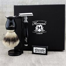 Classic 5 Piece Shaving Set |DE Safety & SilverTip Badger Brush | Men's Gift Kit