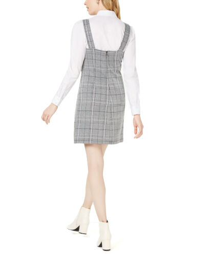 Project 28 NYCEmbroidered Plaid Shift DressGrey