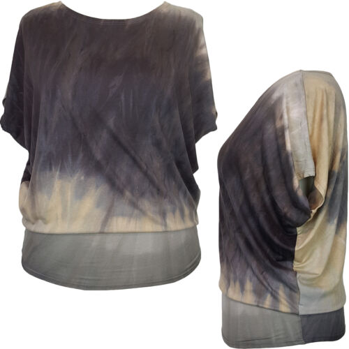 Italian Style Lagenlook BlackTunic Dress Top Blouse Plus Size 14 16 18 20 22
