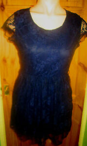 CLUB-L-BEAUTIFUL-NAVY-LACE-LINED-CAP-SLEEVE-DRESS-SIZE-16-BNWT