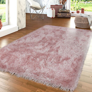 moderner hochflor teppich shaggy einfarbig mit glitzergarn pastellfarben in rosa ebay. Black Bedroom Furniture Sets. Home Design Ideas