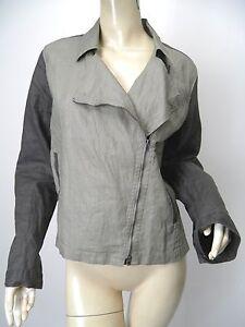 EILEEN-FISHER-Charcoal-Gray-Waxed-Organic-Linen-Asymmetric-Zip-Moto-Jacket-sz-M