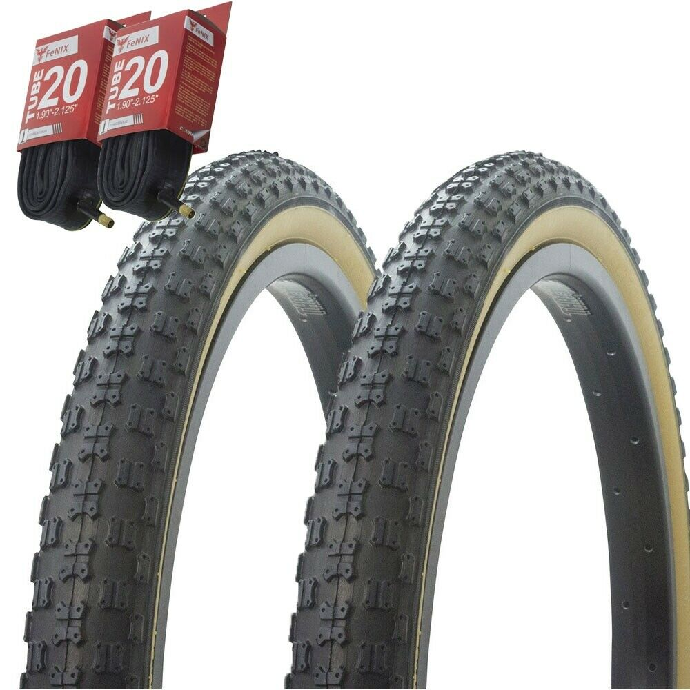 TWO DURO 20X1.75 BMX BICYCLE TIRES WHITE GUMWALLS  COMP 3 MX3 STYLE 2