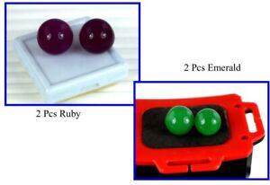 Wholesale Price 120 Carat 4 Pcs Round Ruby & Emerald Gemstone Ball Lot Natural